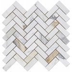 Calacatta Gold Marble 1x4 Herringbone Polished Mosaic Tile - TILE AND MOSAIC DEPOT