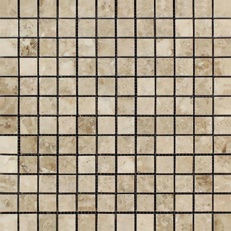 Cappuccino Marble 1x1 Polished Mosaic Tile - TILE AND MOSAIC DEPOT