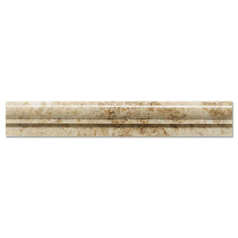Cappuccino Marble 2x12 1 Step Chairrail Polished Liner - TILE AND MOSAIC DEPOT