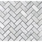 White Carrara Marble 1x2 Herringbone Polished Mosaic Tile - TILE AND MOSAIC DEPOT