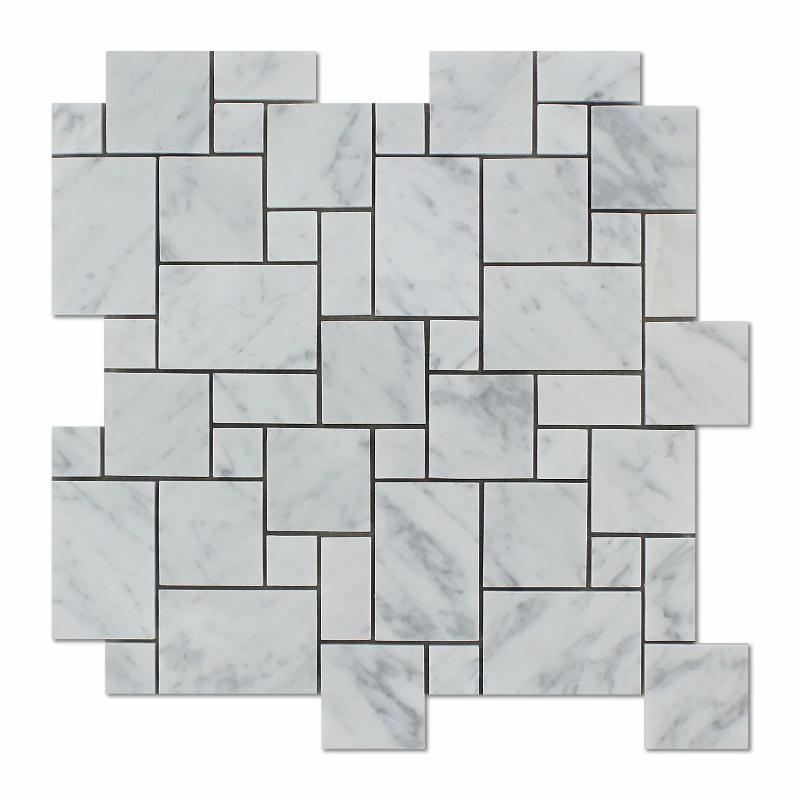 White Carrara Marble Micro Mini Pattern Polished Mosaic Tile - TILE AND MOSAIC DEPOT