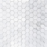 White Carrara Marble 2x2 Hexagon Honed Mosaic Tile - TILE AND MOSAIC DEPOT