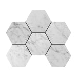 4x4 Bianco Carrara Hexagon Polished