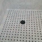 White Carrara Marble Polished Basketweave with Black Dots Mosaic Tile - TILE AND MOSAIC DEPOT