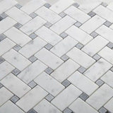 White Carrara Marble Honed Basketweave w/Gray Dots Mosaic Tile - TILE AND MOSAIC DEPOT