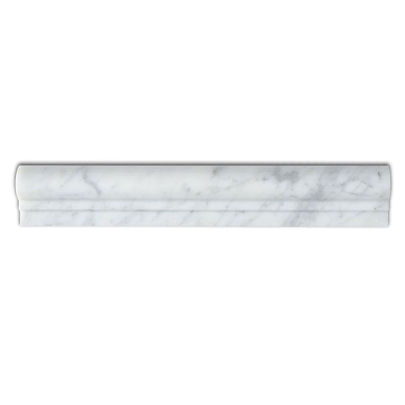 White Carrara Marble 2x12 Honed 1 Step Chairrail - TILE AND MOSAIC DEPOT