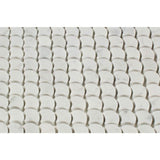 White Carrara Marble Fish Design (Fan Shape) Polished Mosaic Tile - TILE AND MOSAIC DEPOT