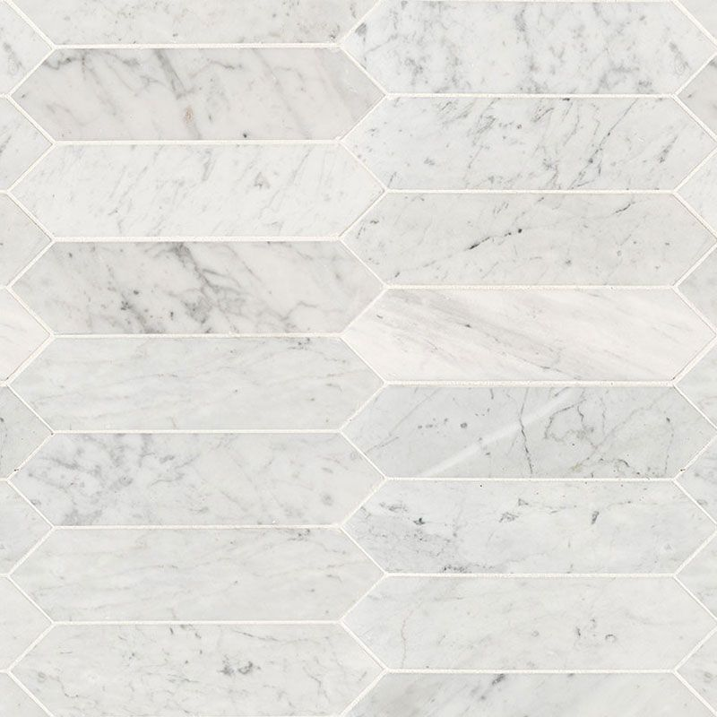 White Carrara Marble 3x12 Picket Honed Mosaic Tile - TILE AND MOSAIC DEPOT