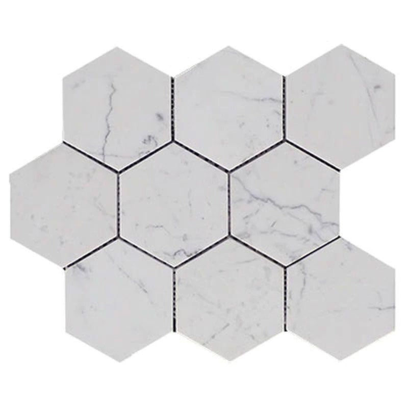 White Carrara Marble 4x4 Hexagon Polished Mosaic Tile - TILE AND MOSAIC DEPOT