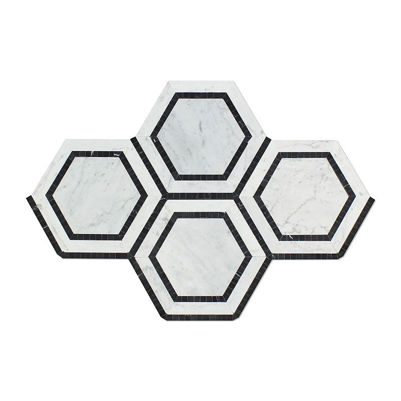 White Carrara Marble 5x5 Hexagon with Black Polished Mosaic Tile - TILE AND MOSAIC DEPOT
