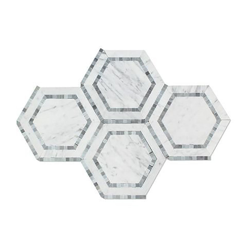 White Carrara Marble 5x5 Hexagon with Blue Polished Mosaic Tile - TILE AND MOSAIC DEPOT