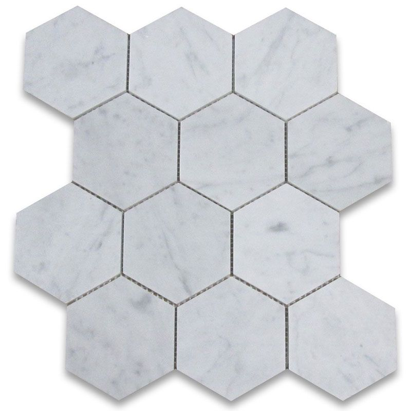 White Carrara Marble 5x5 Hexagon Polished Mosaic Tile - TILE AND MOSAIC DEPOT