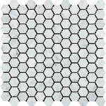 White Carrara Marble 1x1 Hexagon Polished Mosaic Tile - TILE AND MOSAIC DEPOT