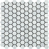 White Carrara Marble 1x1 Hexagon Honed Mosaic Tile - TILE AND MOSAIC DEPOT