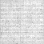 White Carrara Marble 1x1 Polished Mosaic Tile - TILE AND MOSAIC DEPOT