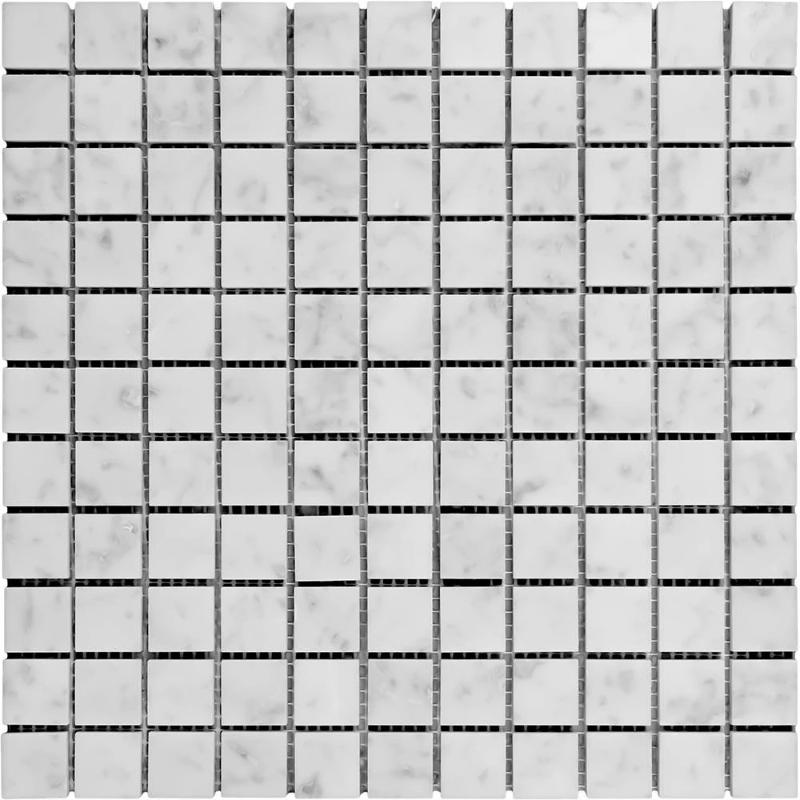 White Carrara Marble 1x1 Honed Mosaic Tile - TILE AND MOSAIC DEPOT