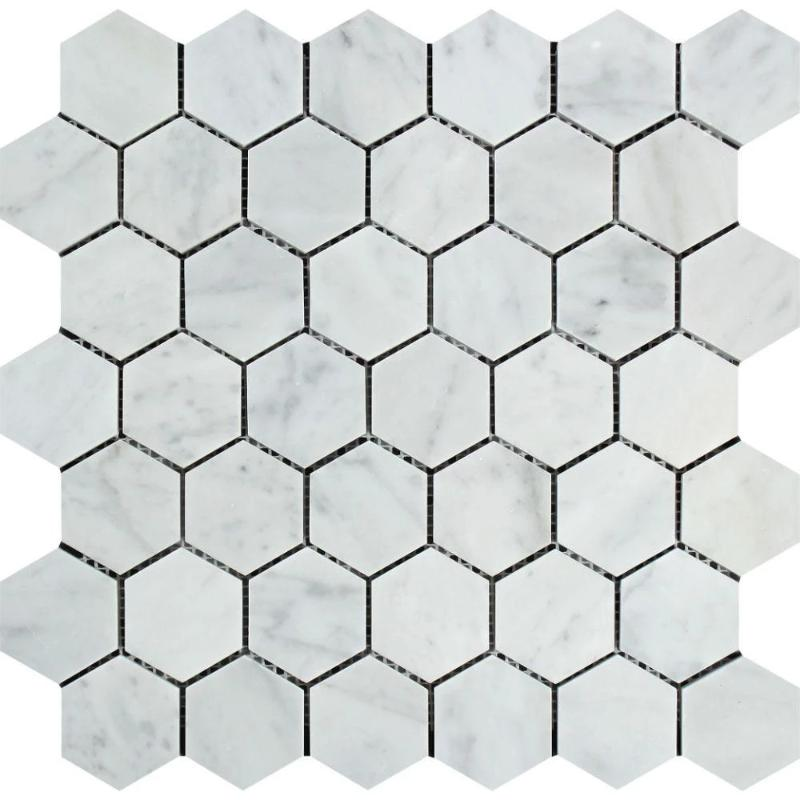 White Carrara Marble 2x2 Hexagon Polished Mosaic Tile - TILE AND MOSAIC DEPOT
