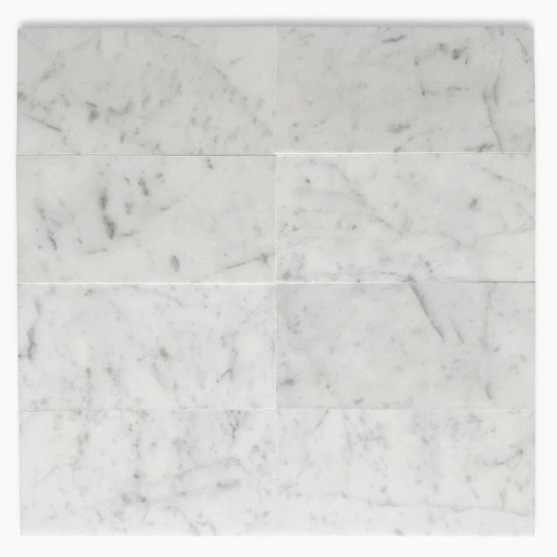 White Carrara Marble 4x8 Polished Tile - TILE AND MOSAIC DEPOT