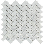 White Carrara Marble 1x2 Herringbone Honed Mosaic Tile - TILE AND MOSAIC DEPOT