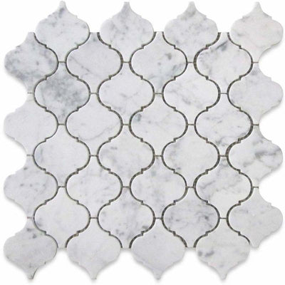 White Carrara Marble Lantern Honed Mosaic Tile - TILE AND MOSAIC DEPOT