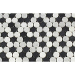 White Carrara Thassos Black Marble Penny Round Polished Mosaic Tile - TILE AND MOSAIC DEPOT