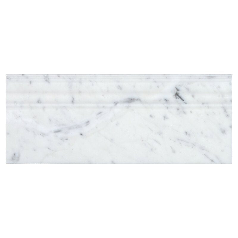 White Carrara Marble 4 3/4x12 Polished Baseboard Molding - TILE AND MOSAIC DEPOT