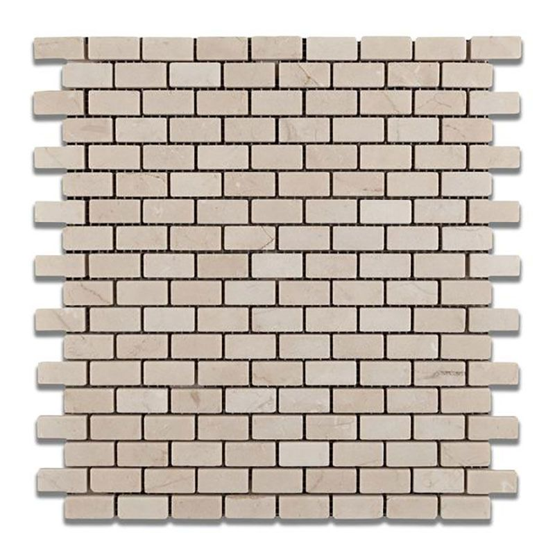 Crema Marfil Marble Polished Mini Brick Mosaic Tile - TILE AND MOSAIC DEPOT