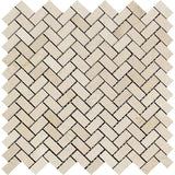 Crema Marfil Marble Mini Herringbone Polished Mosaic Tile - TILE AND MOSAIC DEPOT
