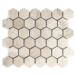 Royal Beige Marble 2x2 Hexagon Honed Marble Mosaic Tile - TILE AND MOSAIC DEPOT