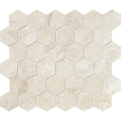 Royal Beige Marble 2x2 Hexagon Polished Marble Mosaic Tile - TILE AND MOSAIC DEPOT