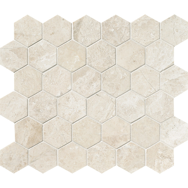 Diana Royale Marble 2x2 Hexagon Polished Marble Mosaic Tile - TILE AND MOSAIC DEPOT