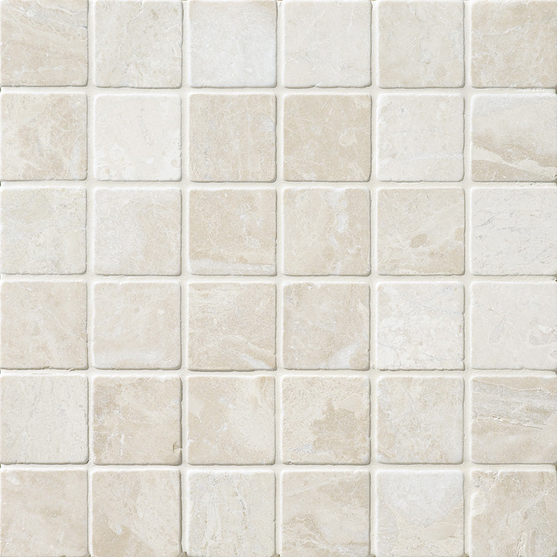 Royal Beige Marble 2x2 Tumbled Mosaic Tile - TILE AND MOSAIC DEPOT