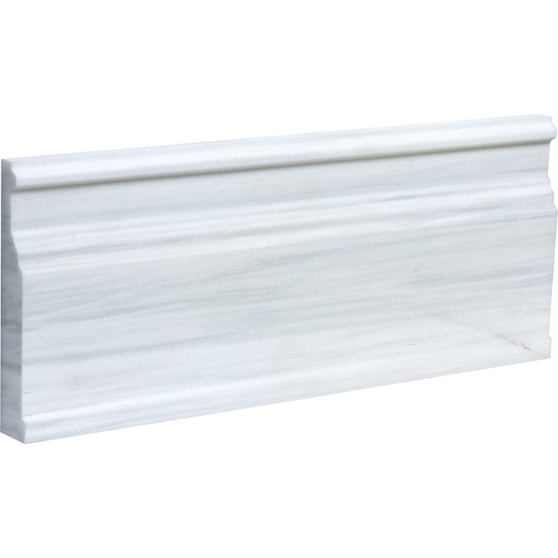 Dolomite Pearl Marble Polished Modern Base Marble Moldings 5 1/16×12 - TILE AND MOSAIC DEPOT