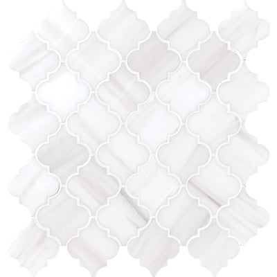Bianco Lago Marble Lantern (Arabesque) Polished Mosaic Tile - TILE AND MOSAIC DEPOT