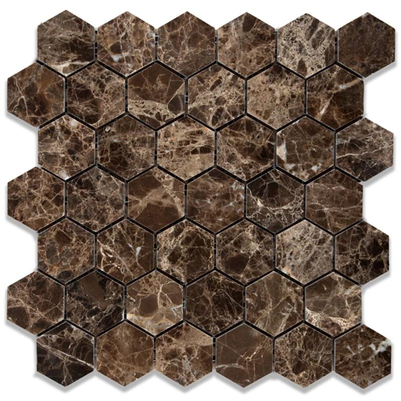 Emperador Dark Spanish Marble 2x2 Hexagon Polished Mosaic Tile - TILE AND MOSAIC DEPOT