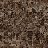 Emperador Dark Spanish Marble 1x1 Polished Mosaic Tile - TILE AND MOSAIC DEPOT
