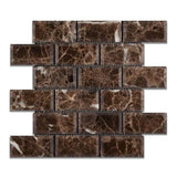 Emperador Dark Spanish Marble 2x4 Deep Beveled Polished Mosaic Tile - TILE AND MOSAIC DEPOT