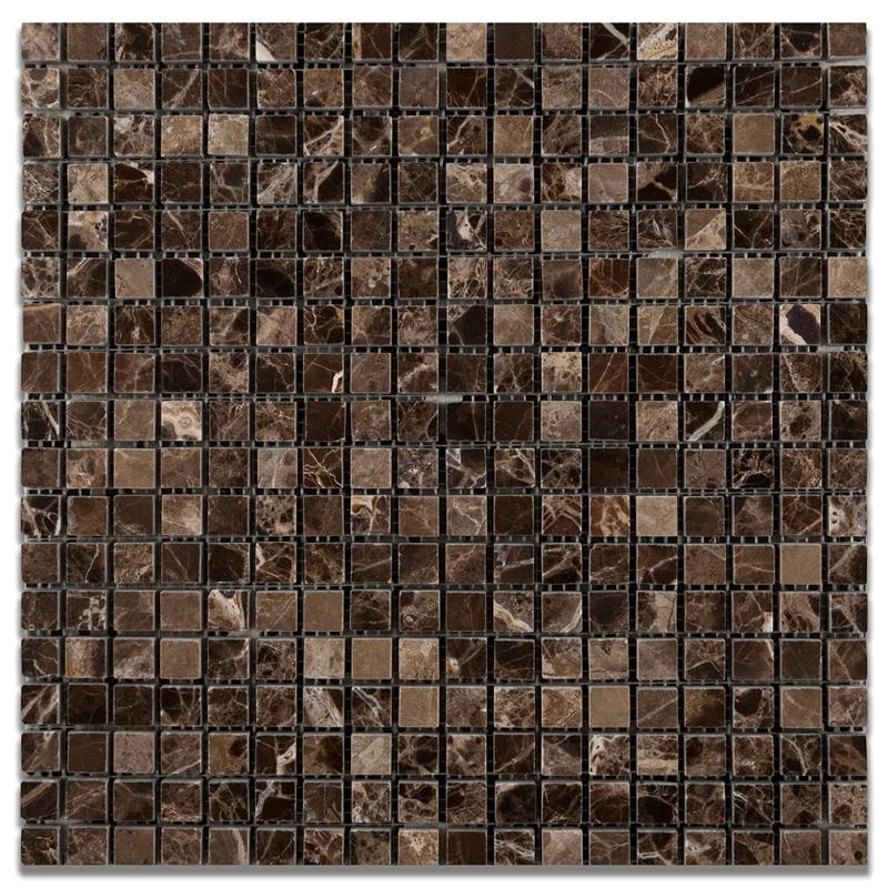 Emperador Dark Spanish Marble 5/8x5/8 Polished Mosaic Tile - TILE AND MOSAIC DEPOT