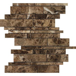 Emperador Dark Spanish Marble Random Insert Polished Mosaic Tile - TILE AND MOSAIC DEPOT