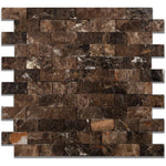 Emperador Dark Spanish Marble 1x2 Split Face Mosaic Tile - TILE AND MOSAIC DEPOT