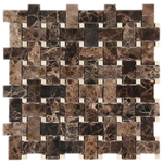Emparador Dark with Crema Marfil dot Basketweave Polished Mosaic Tile - TILE AND MOSAIC DEPOT