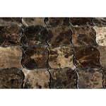 Emperador Dark Spanish Marble Lantern (Arabesque) Polished Mosaic Tile - TILE AND MOSAIC DEPOT