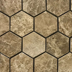 Emperador Light Marble 2x2 Hexagon Polished Mosaic Tile - TILE AND MOSAIC DEPOT