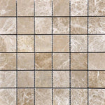 Emperador Light Spanish Marble 2x2 Polished Mosaic Tile - TILE AND MOSAIC DEPOT