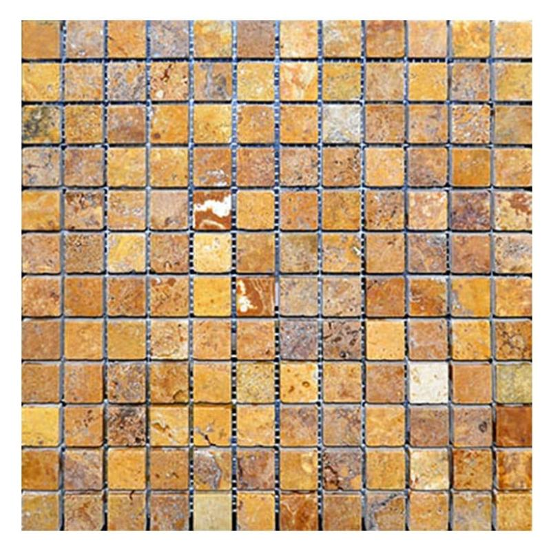 Gold Travertine 1x1 Tumbled Mosaic Tile - TILE AND MOSAIC DEPOT