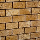 Gold Travertine 1x2 Tumbled Mosaic Tile - TILE AND MOSAIC DEPOT