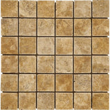 Gold Travertine 2x2 Tumbled Mosaic Tile - TILE AND MOSAIC DEPOT