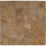 Gold Travertine 4x4 Tumbled Tile - TILE AND MOSAIC DEPOT