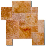 Gold Travertine Unfilled Brushed & Chiseled Versailles Pattern Tile - TILE AND MOSAIC DEPOT