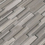 Haisa Dark (Gray Oak) Marble 3D 4.5x16 Mini Stacked Stone Ledger Panel - TILE AND MOSAIC DEPOT